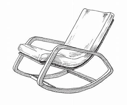 Chair Rocking Sketch Comfortable Vector Isolated Premium