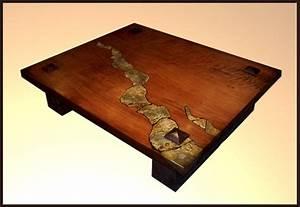 Custom Made Redwood Table With Stone Inlay by Hamari