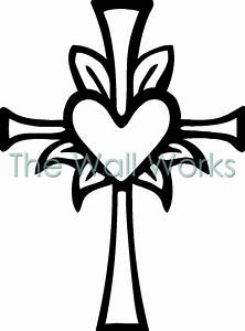 Cross with Heart wall sticker, vinyl decal | The Wall Works