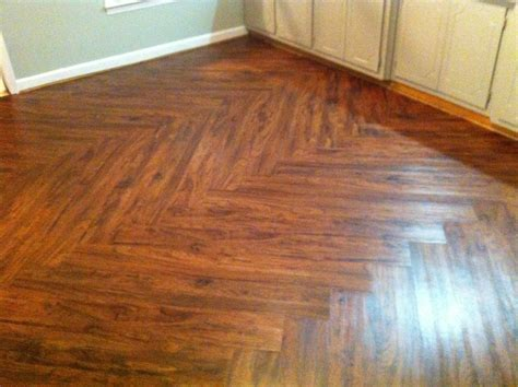 cherry vinyl plank flooring with zig zag pattern for small kitchen spaces after remodel ideas