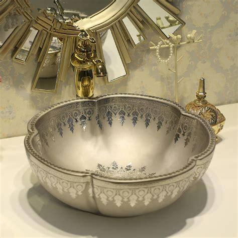 hand painted bathroom sinks aliexpress com buy flower counter top wash basin