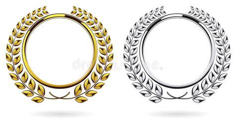 Detailed Round Silver And Golden Laurel Wreath Award Set