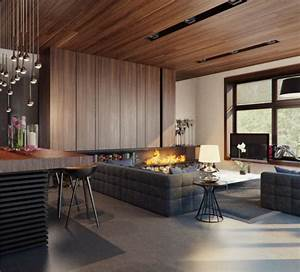 Wohnzimmer Holz Modern : pr chtig modern wohnzimmer designs kamin hocker grau couch holz idee h o m e pinterest ~ Indierocktalk.com Haus und Dekorationen