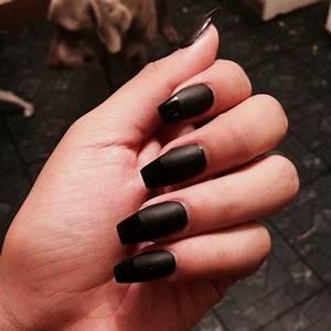 Black acrylic nails. #matte #coffin | Nail Designs ...