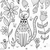 Coloring Cat Printable Butterfly Nose Funny Cats Sitting Coloriage Vlinder Chat Dans Grappige Pagina Posterlounge Zen Comme Nature Ce Etre sketch template