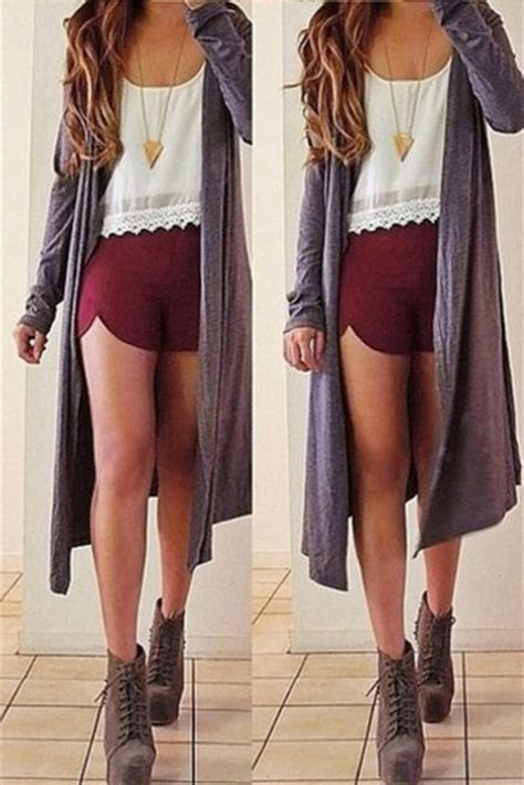 Shirt shorts long cardigan necklace trendy shoes gorgeous jewels sweater tumblr outfit ...