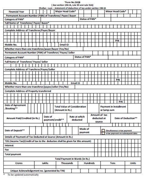 new tds form 16b return form no 26qb for tds deduction u