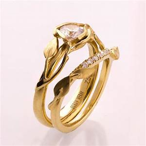 leaves engagement set 14k gold and diamond engagement With leaf wedding ring
