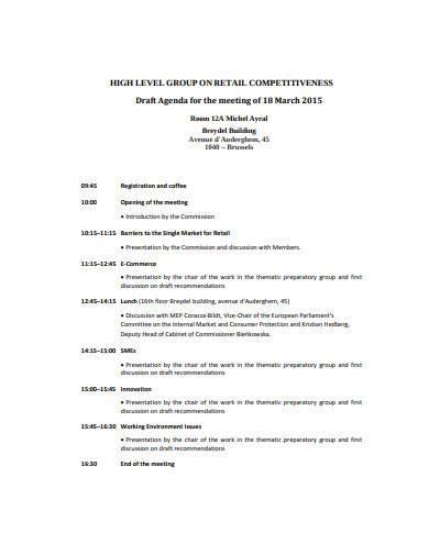 retail meeting agenda samples   ms word