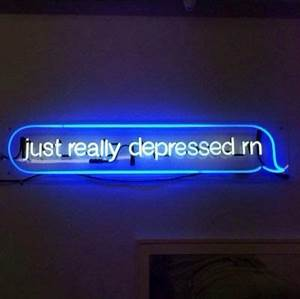 blue grunge neon neon lights relateable sad sign