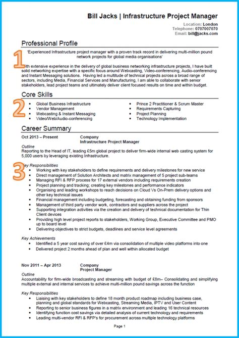 It Cv by Curriculum Vitae Exles Templates Writing Guide