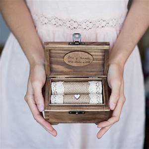 Personalized wedding ring box wooden ring holder with for Wedding ring holder box