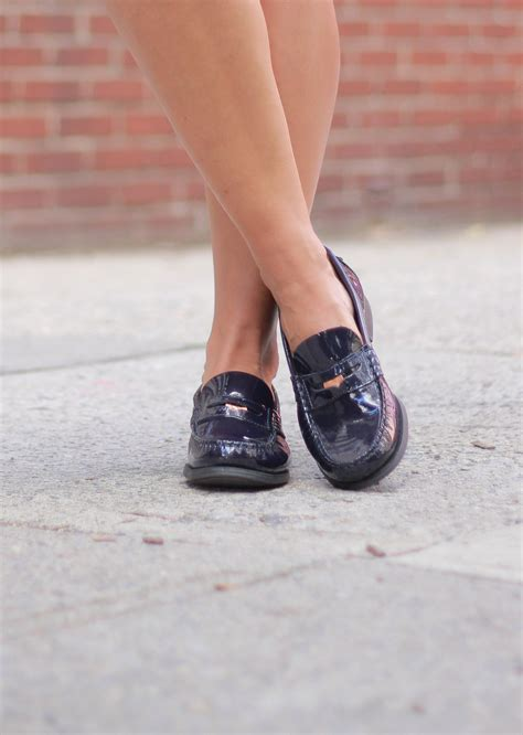 loafers skirt mini monochrome patent navy pleated penny