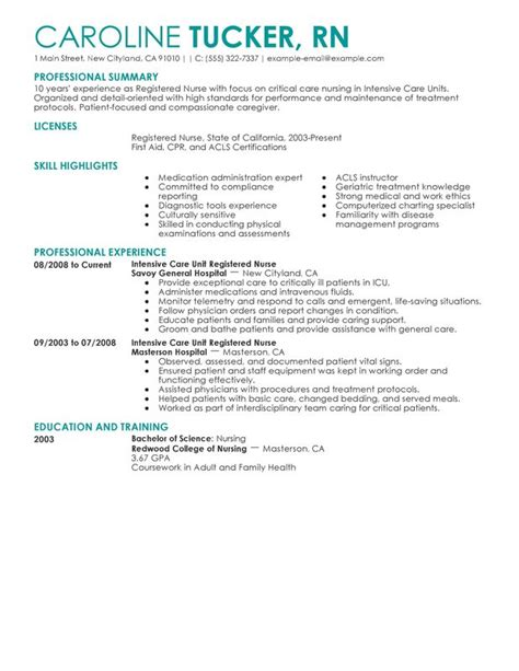 Unforgettable Intensive Care Unit Registered Nurse Resume