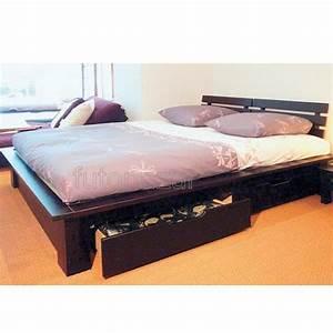 Lit Japonais Pas Cher : lit conptemporain avec rangement et matelas futon achat ~ Premium-room.com Idées de Décoration