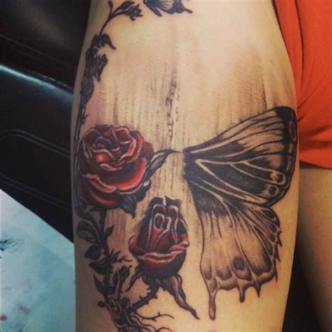 hidden skull  roses  butterfly  johnny