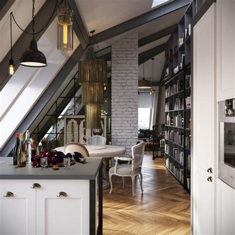 dark colored loft apartments  exposed brick walls