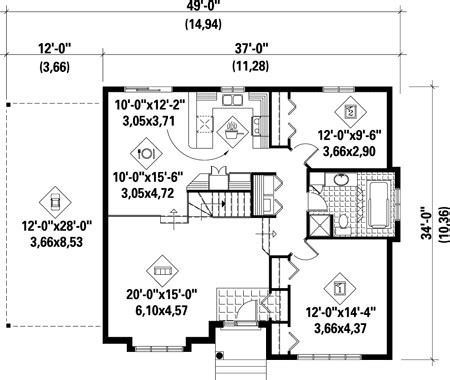 One Story Style House Plan 49251 with 2 Bed 1 Bath 1 Car