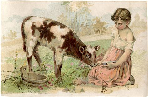 vintage calf image super sweet  graphics fairy