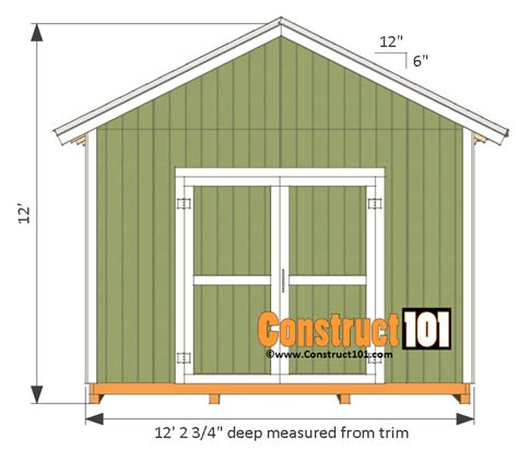 Free 12x12 Shed Plans by 12x12 Shed Plans Gable Shed Pdf Construct101