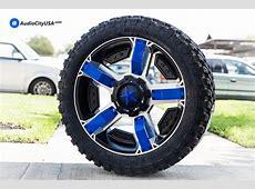 22x95 XD Wheels XD811 Rockstar II Black Machine Blue