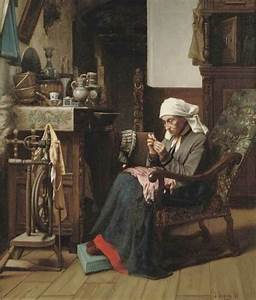 Josse Impens (1840-1905) «Old lady sewing» 1871 | Hand ...