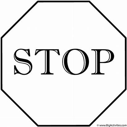 Stop Sign Signs Coloring Printable Safety Traffic