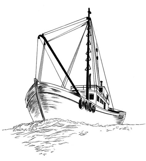 How To Draw A Pilgrim Boat by Fishing Boat Fishing Boat Sketch Coloring Pages Fishing