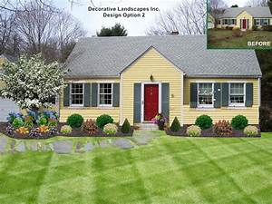 cottage style landscape on ranch style home dighton ma With garden design front of house