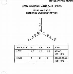 Dual Voltage Motor Wiring Diagram 3 Phase 12 Wire