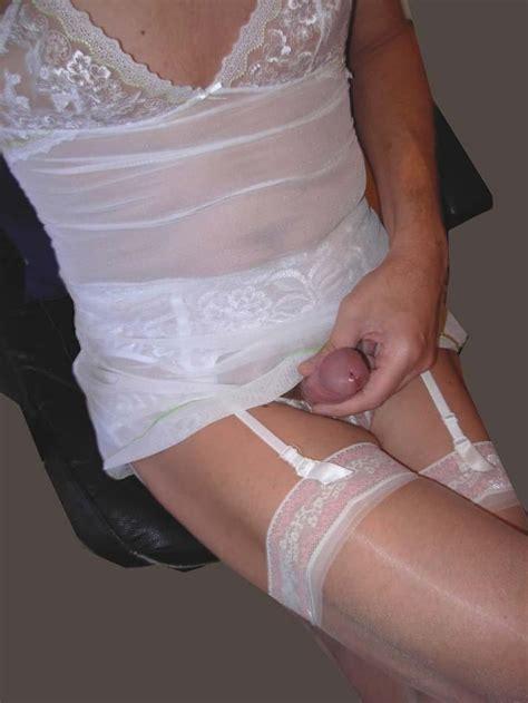 Slim Tv All In White Panties Slip And Nylons Fetish Porn Pic