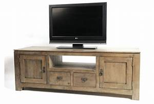 meuble tv hifi hevea grise natural 2 portes 2 tiroirs With wonderful meuble en manguier massif 5 meuble tv en bois exotique gris