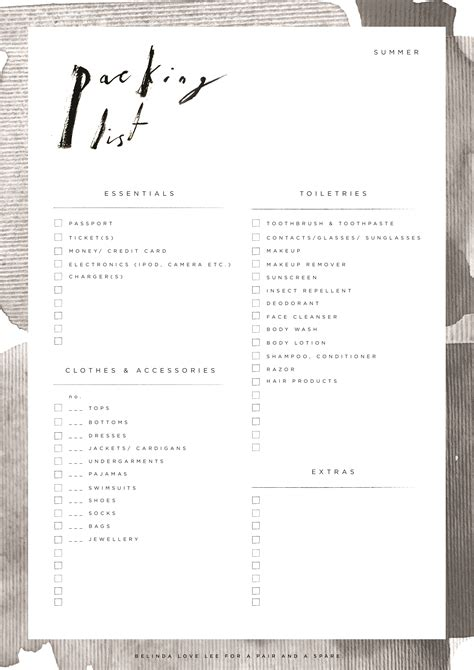 printable travel checklist free rv packing list must have