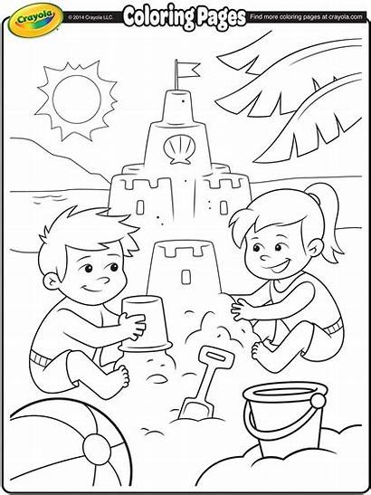 Coloring Beach Fun Sand Castle Pages Building