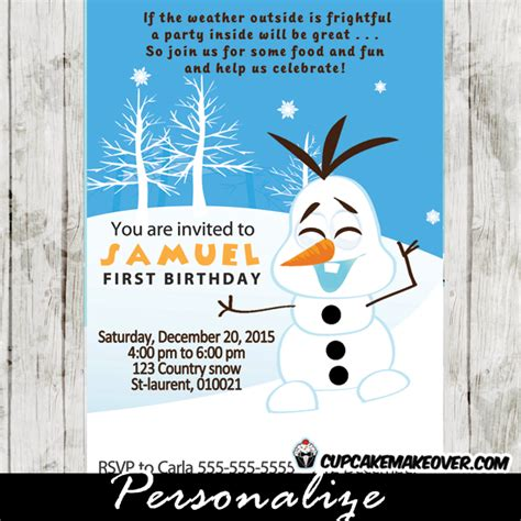 snowman birthday invitations winter holiday party
