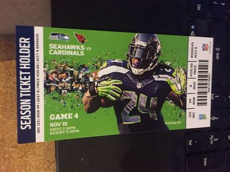 seattle seahawks  arizona cardinals ticket stub