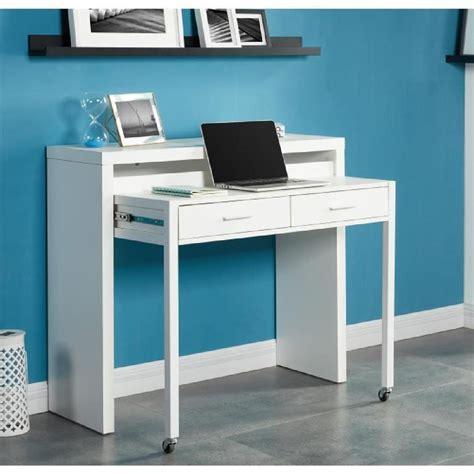 bureau console extensible 2 en 1 bureau extensible 110 cm blanc achat vente