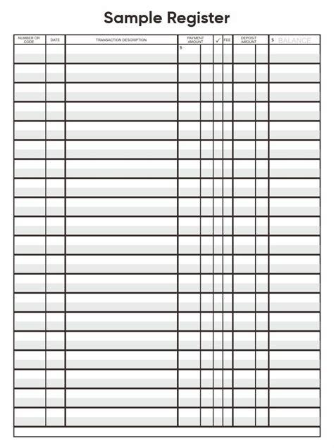 images   printable check register