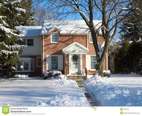 brick house  winter snow stock image image  wintery