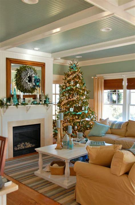 house  turquoise coastal christmas