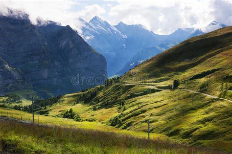 Direction Signs Alpine Hikes Alps Switzerland Stock Photo Hiking Trails Near Kleine Scheidegg Near Grindelwald