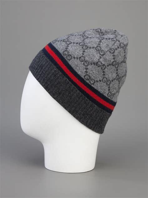 gucci monogram beanie hat grey grey lyst