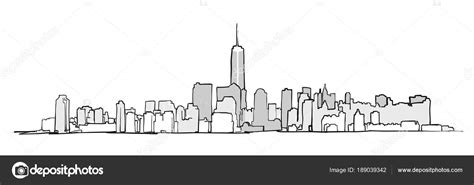 Kleurplaat Nyc by New York City Skyline Tekening Stockvector 169 Mail