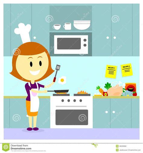maman faisant cuire dans la cuisine illustration de vecteur image 48236082