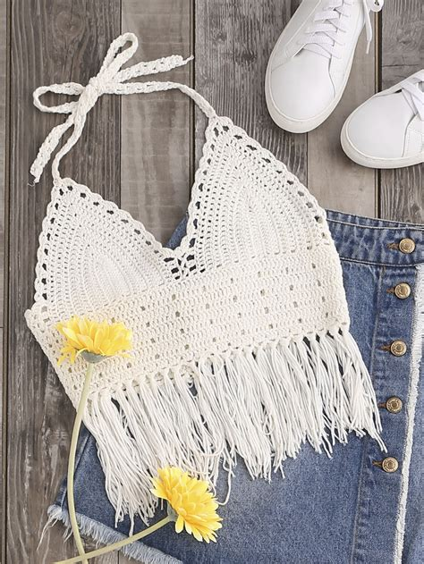 Knot Fringe Trim Lace Up Back Halter Crochet Top # ...