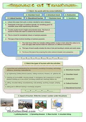 impact  tourism worksheet  esl printable