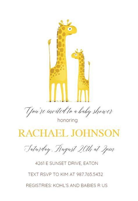 baby giraffe baby shower invitation template