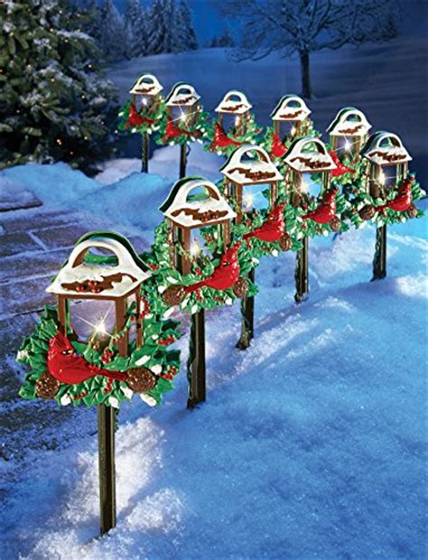 christmas solar walkway lights cardinal holiday lantern path lights