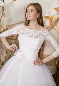 Princess lace tulle bridal dress off the shoulder 3 4 for 3 4 sleeve off the shoulder lace wedding dress