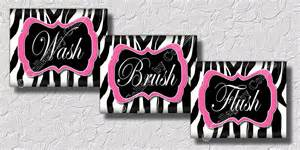 pink zebra print wall art bathroom decor print wash brush